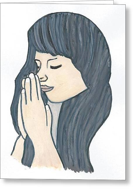 Magdalena Frohnsdorff Greeting Cards - Praying woman  Greeting Card by Magdalena Frohnsdorff