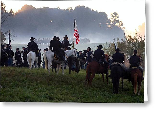 Americans Tapestries - Textiles Greeting Cards - Pre-Dawn Battle - Perryville KY Greeting Card by Thia Stover