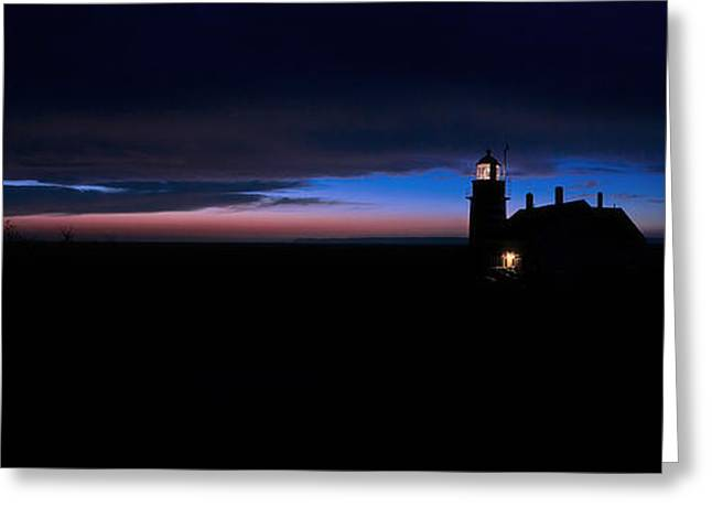 Pre Dawn Light Panorama At Quoddy Greeting Card by Marty Saccone