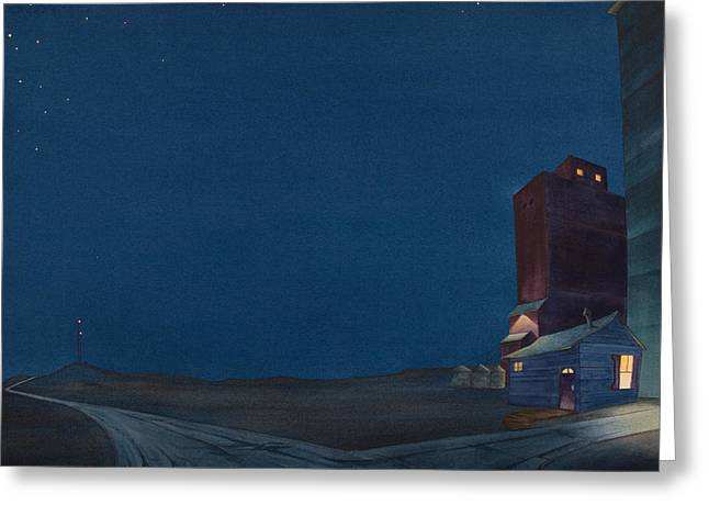 Grain Elevator Greeting Cards - Pre-Dawn On The Hi Line III Greeting Card by Scott Kirby