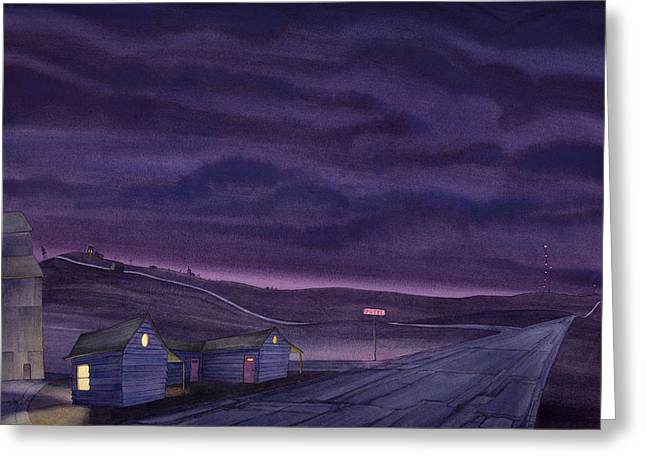 Grain Elevator Greeting Cards - Pre-Dawn On The Hi-Line VI Greeting Card by Scott Kirby