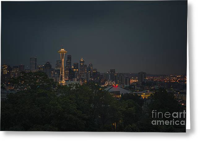 Seattle Skyline Greeting Cards - Pre-dawn Seattle Greeting Card by Gene Garnace