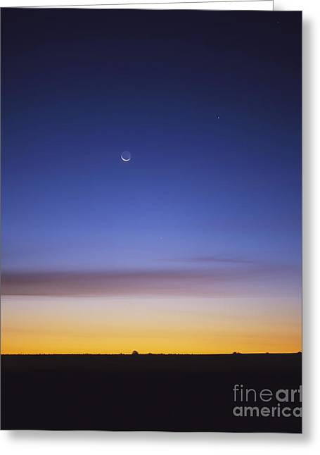 Waning Moon Greeting Cards - Pre-dawn Sky With Waning Crescent Moon Greeting Card by Alan Dyer