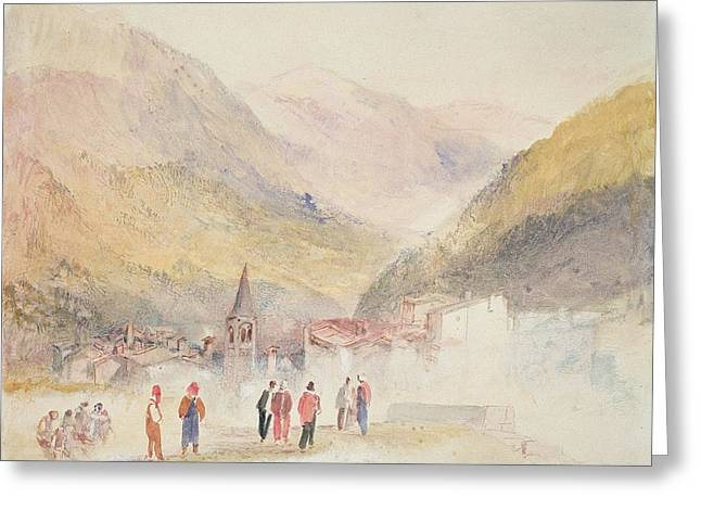 Italian Landscapes Drawings Greeting Cards - Pre St Didier, 1836 Greeting Card by Joseph Mallord William Turner