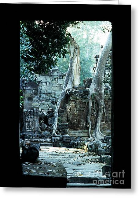 Tree Roots Photographs Greeting Cards - Preah Khan Temple 01 Greeting Card by Rick Piper Photography