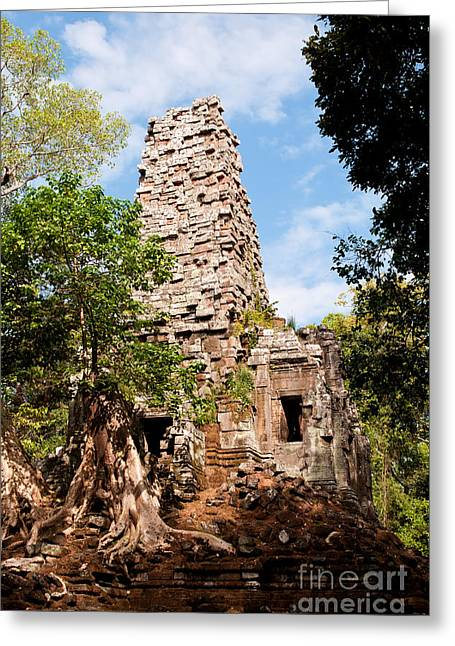 Tree Roots Photographs Greeting Cards - Preah Palilay Temple 01 Greeting Card by Rick Piper Photography