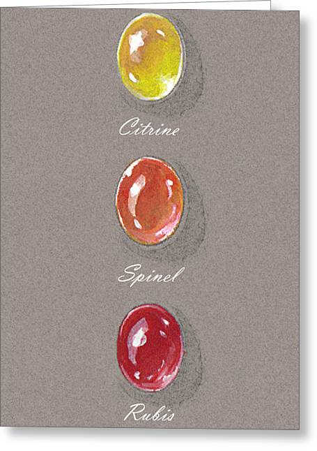 Shiny Jewelry Greeting Cards - Precious Citrine Ruby Spinel Greeting Card by Marie Esther NC