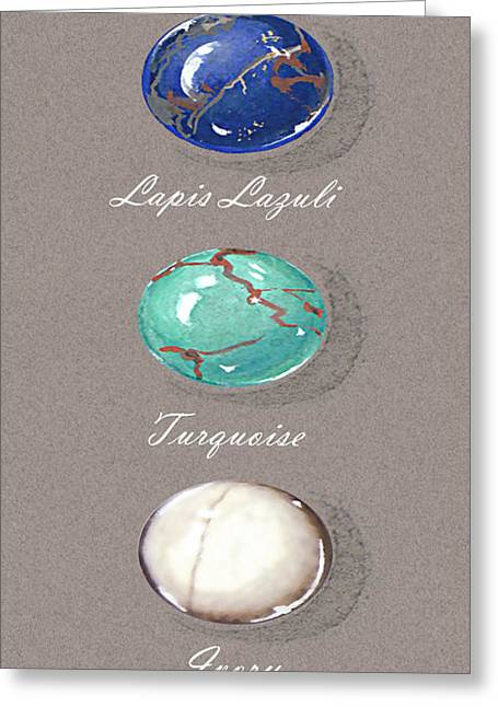 Carat Paintings Greeting Cards - Precious colored gemstones blue Greeting Card by Marie Esther NC