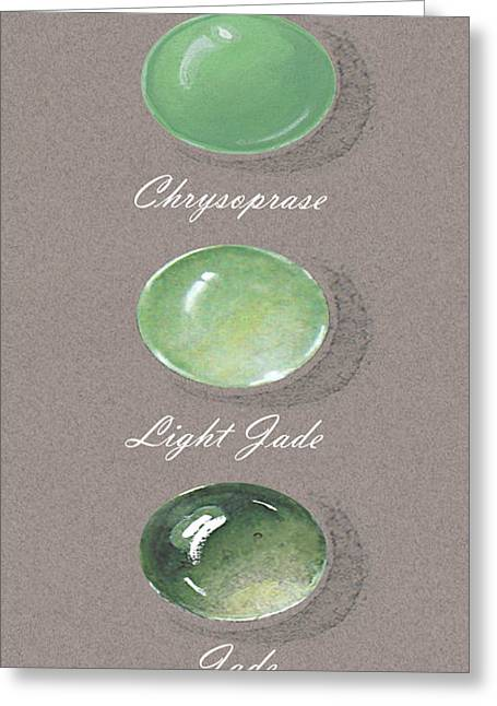 Carat Paintings Greeting Cards - Precious colored gemstones green Greeting Card by Marie Esther NC