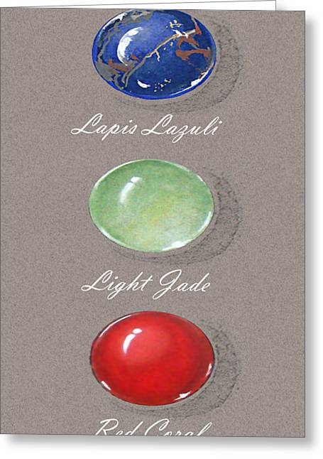 Carat Paintings Greeting Cards - Precious colored gemstones Greeting Card by Marie Esther NC