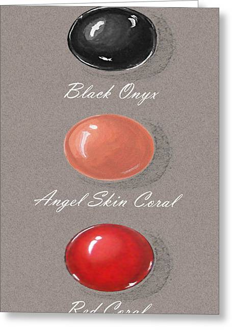 Carat Paintings Greeting Cards - Precious colored gemstones red Greeting Card by Marie Esther NC