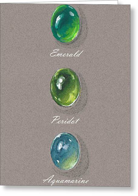 Gift Jewelry Greeting Cards - Precious emerald and peridot Greeting Card by Marie Esther NC