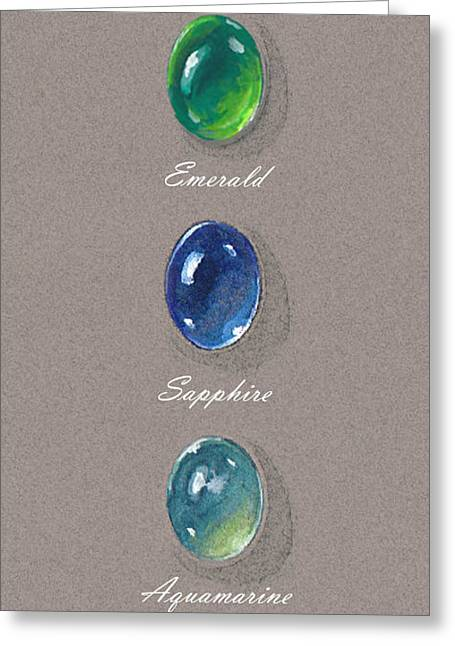 Sapphire Jewelry Greeting Cards - Precious emerald aquamarine and sapphire Greeting Card by Marie Esther NC