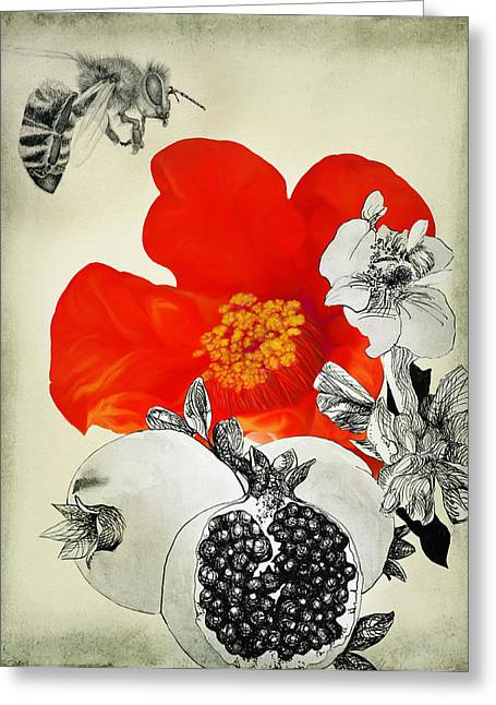 """""""song Of Songs"""" Mixed Media Greeting Cards - Precious Fruits New and Old Greeting Card by Sarah Wathen"""