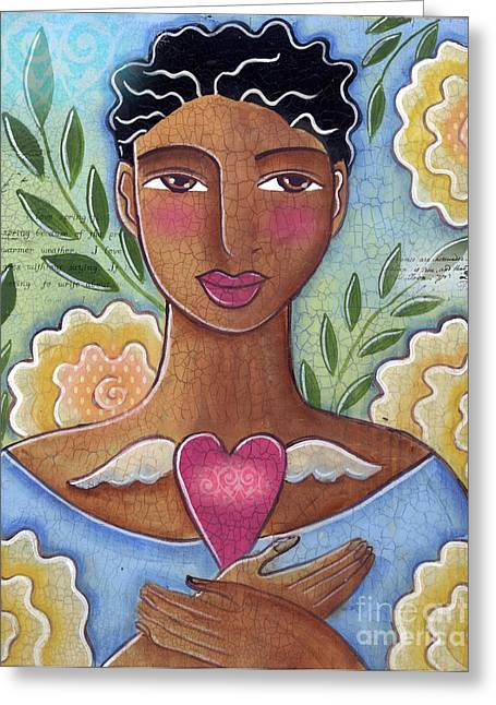 African-american Mixed Media Greeting Cards - Precious Heart by Elaine Jackson Greeting Card by Elaine Jackson