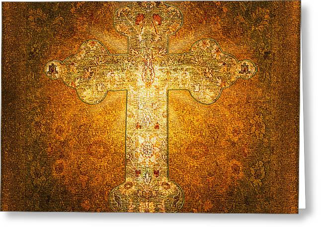 Subtle Colors Mixed Media Greeting Cards - Precious Holy Cross Greeting Card by Li   van Saathoff