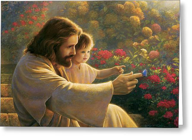 Butterfly On Flower Greeting Cards - Precious In His Sight Greeting Card by Greg Olsen