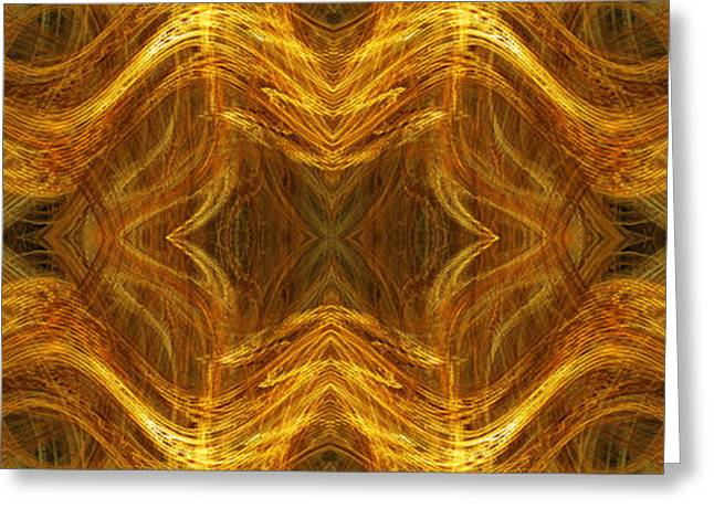 Abstract Waves Greeting Cards - Precious Metal 3 Ocean Waves Dark Gold Greeting Card by Andee Design