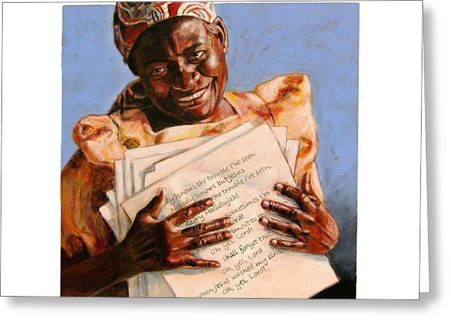 African-american Paintings Greeting Cards - Precious Songs Greeting Card by John Lautermilch