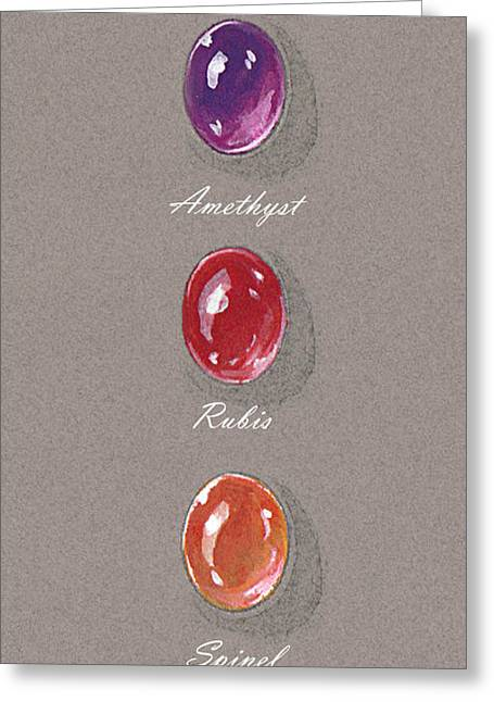 France Jewelry Greeting Cards - Precious spinel rubis and amethyst Greeting Card by Marie Esther NC