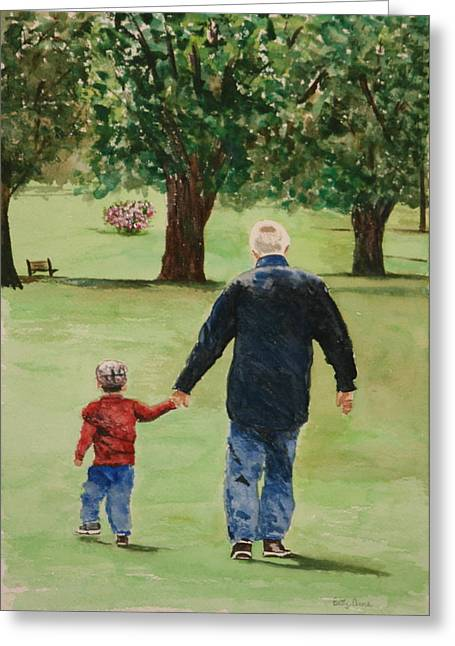 Family Walks Paintings Greeting Cards - Precious time Greeting Card by Betty-Anne McDonald