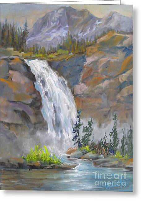Park Scene Paintings Greeting Cards - Precipitous Falls Greeting Card by Mohamed Hirji