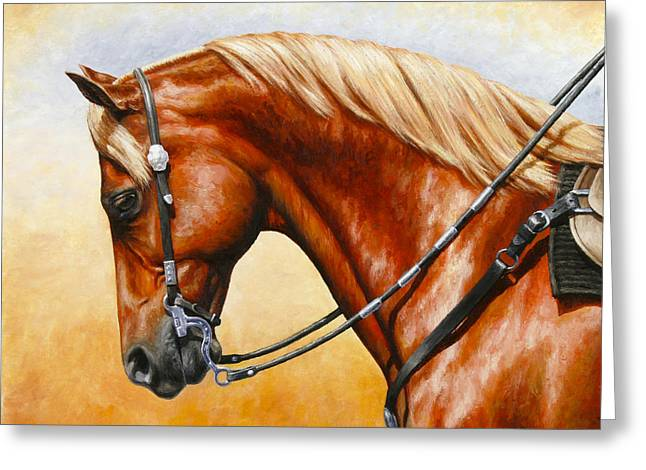 Quarter Horses Paintings Greeting Cards - Precision - Horse Painting Greeting Card by Crista Forest