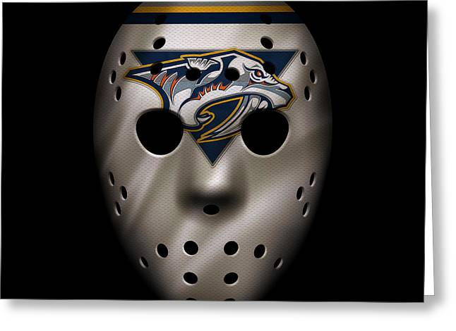 Nashville Greeting Cards - Predators Jersey Mask Greeting Card by Joe Hamilton
