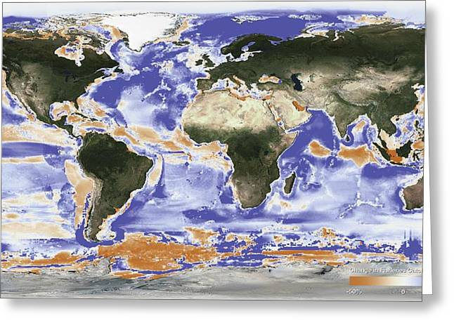 Predicted Fishery Catch Changes By 2050 Greeting Card by Noaa