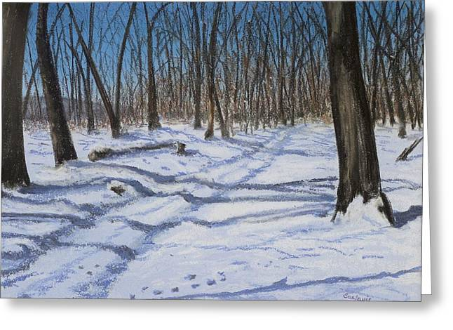 Snow Tree Prints Pastels Greeting Cards - Pregnant Stillness Greeting Card by Sue Lewis