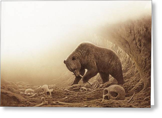 Ancestors Greeting Cards - Prehistoric bear eating human bones Greeting Card by Science Photo Library