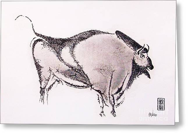 Bison Drawings Greeting Cards - Prehistoric Bison Greeting Card by Roberto Prusso