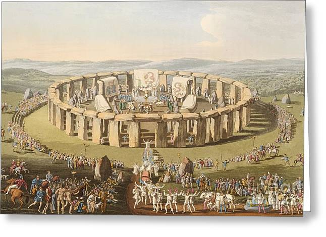Briton Greeting Cards - Prehistoric Festival At Stonehenge Greeting Card by British Library