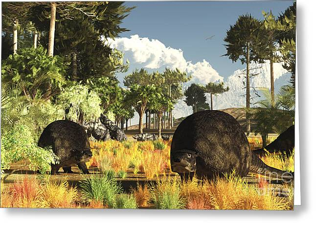 Sloth Greeting Cards - Prehistoric Glyptodonts Graze On Grassy Greeting Card by Arthur Dorety