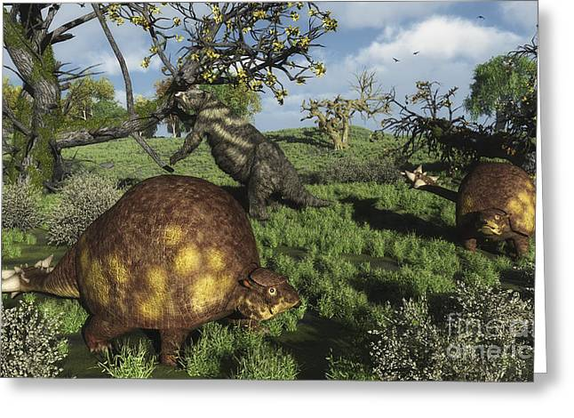 Sloth Greeting Cards - Prehistoric Glyptodonts Graze On Grassy Greeting Card by Walter Myers