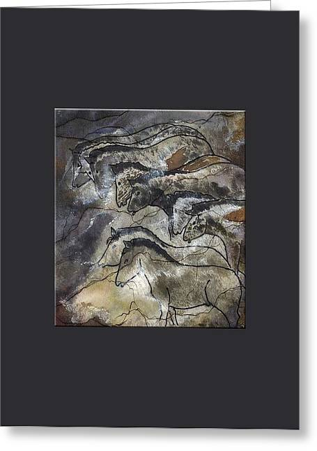 20-30 Mixed Media Greeting Cards - Prehistoric Horses Lascaux Cave SE France Large Border Greeting Card by L Brown