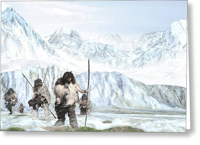 Ancestors Greeting Cards - Prehistoric humans, artwork Greeting Card by Science Photo Library
