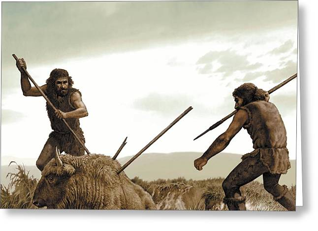 Ancestors Greeting Cards - Prehistoric humans hunting, artwork Greeting Card by Science Photo Library