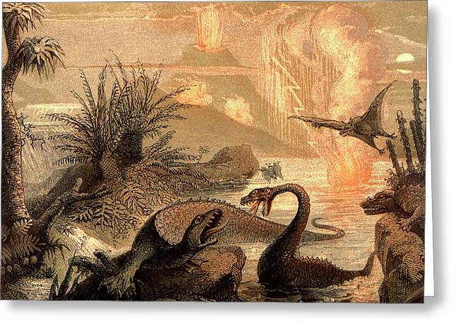 Prehistoric World Greeting Card by Collection Abecasis