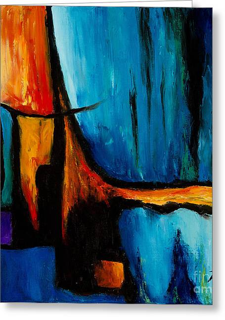 Abstract Rain Greeting Cards - Prelude in Bleu Greeting Card by Larry Martin