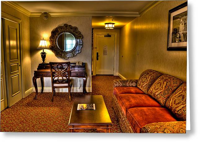 The Lake George Greeting Cards - Premier Balcony Suite at the Sagamore Greeting Card by David Patterson