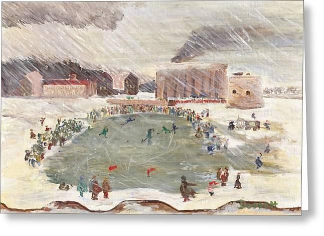 Hockey Paintings Greeting Cards - Premier match de hockey Greeting Card by David Dossett