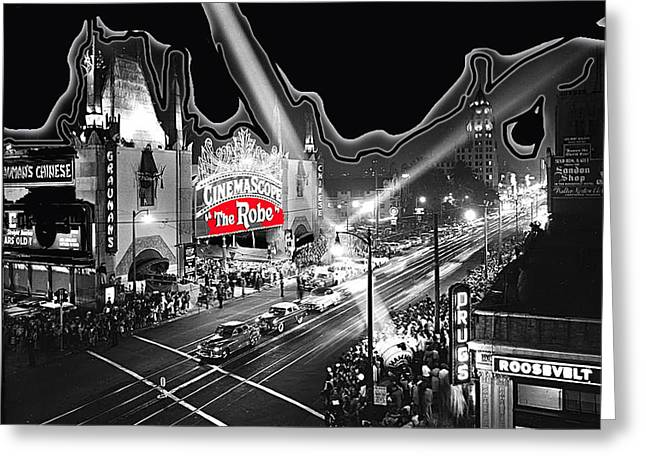 Hugh Hefner Greeting Cards - Premier of The Robe 1953 Graumans Chinese Theater Los Angeles CA 1953-2012 Greeting Card by David Lee Guss