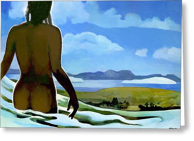 Aotearoa Greeting Cards - Premonition - Bream Bay Goddess Greeting Card by Patricia Howitt
