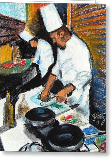 Restaurant Pastels Greeting Cards - Prep Greeting Card by Michael Foltz