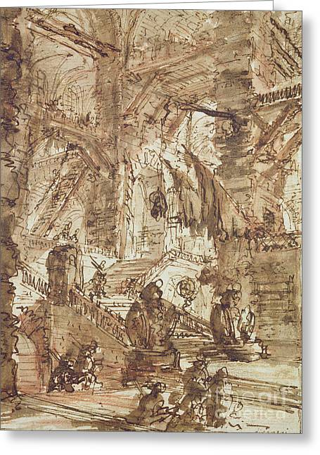 Basement Drawings Greeting Cards - Preparatory drawing for plate number VIII of the Carceri alInvenzione series Greeting Card by Giovanni Battista Piranesi