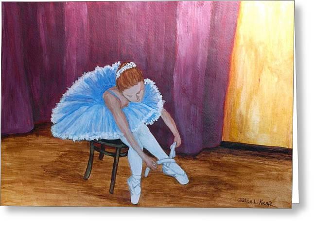 Ballet Dancers Drawings Greeting Cards - Prepare for the Ballet Greeting Card by Julie Kraft