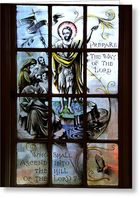 Painted Glass Greeting Cards - Prepare the Way Greeting Card by Stephen Stookey