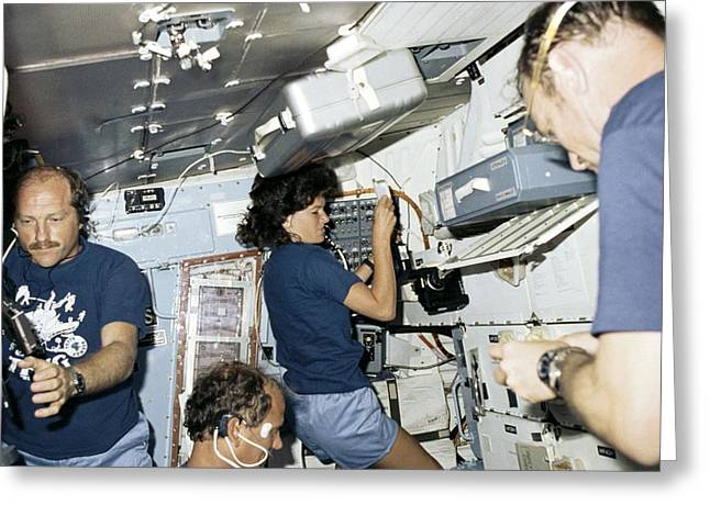 People Greeting Cards - Preparing food on space shuttle Greeting Card by Science Photo Library