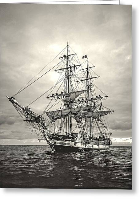 Tall Ships Greeting Cards - Preparing for Dock Greeting Card by Cliff Wassmann